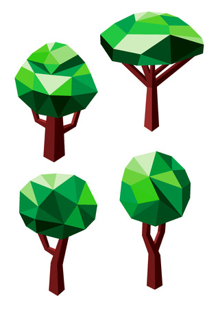 branched: Abstract geometric green trees icons in 3D low poly style with rounded crowns and branched trunks. Isolated on white