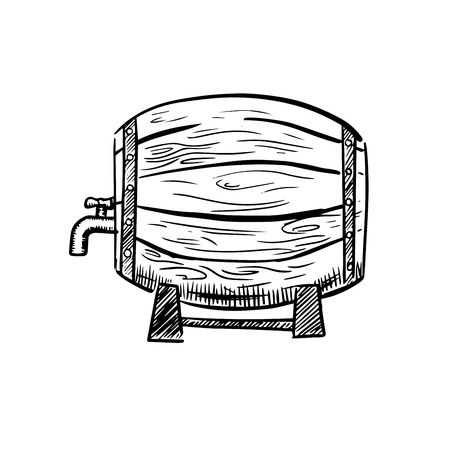 Old wooden wine barrel on racks with metal hoops and a tap in sketch style, isolated on white background