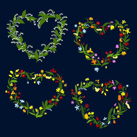 in peas: Floral hearts design with delicate spring flowers wreaths ornated by lilies of valley, roses, daisies, bellflowers, sweet peas and blooming herbs on dark blue background Illustration