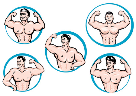 muscles: Cartoon bodybuilders in different poses show a muscles. Framed by round blue fcircles, for fitness or gym sport design Illustration