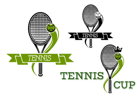 sport logo: Tennis club or tournament sporting emblems with rackets and balls, royal crowns and wavy motion trails decorated by ribbon banners