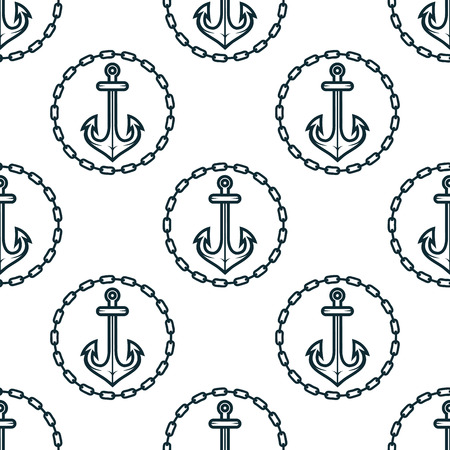 anchor: Vintage dark blue ship anchors seamless pattern framed by round chain borders on white background for marine design