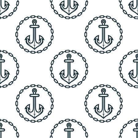 fluke: Vintage dark blue ship anchors seamless pattern framed by round chain borders on white background for marine design