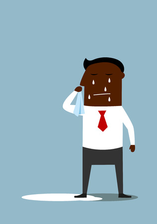 Sad crying african american businessman standing in a pool of his tears. For depression or negative emotions concept design, cartoon flat style