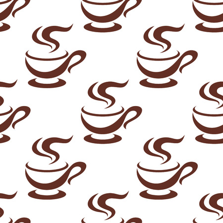 steaming: Steaming coffee cups seamless pattern of porcelain cappuccino cups with elegant handles, on white background Illustration