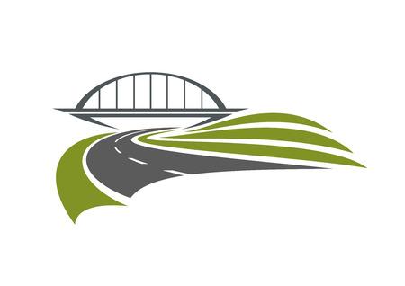 道路交通機関や車旅の設計のための白い背景に分離された緑の道端で鉄道橋の下を通過します。