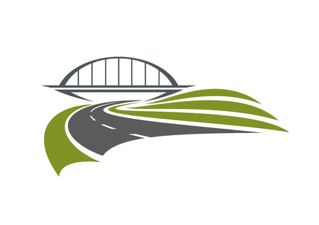 Road passes under the railway bridge with green roadsides, isolated on white background, for transportation or car trip design Illustration