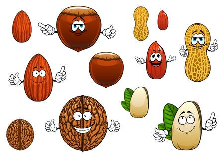 Tasty ganze und geschälte Mandeln, Pistazien, peanutsand Nussbaum Comic-Figuren mit und whithout Gesichter isoliert auf weiß Standard-Bild - 43010484