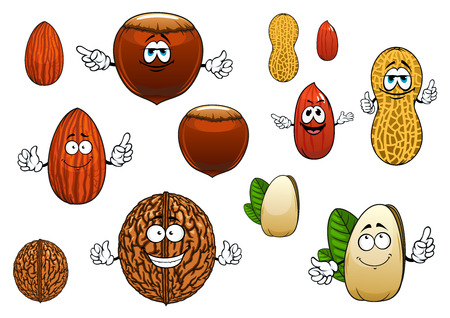 Tasty whole and peeled almond, pistachio, peanutsand walnut cartoon characters with and whithout faces isolated on white Illusztráció