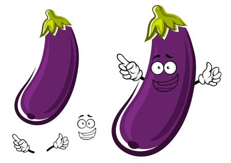 幸せな健康的な長い湾曲した農業や料理フード デザイン、白い背景で隔離紫の茄子や茄子野菜漫画のキャラクター  イラスト・ベクター素材