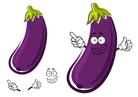 Happy healthy long curved purple eggplant or aubergine vegetable cartoon character isolated on white background, for agriculture or cooking food design