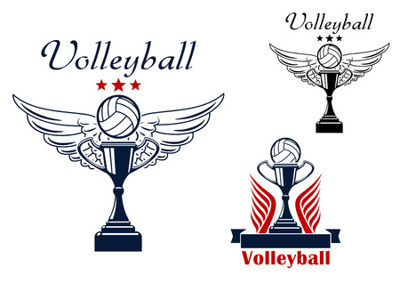championship: Volleyball sporting icons with winged ball, soaring above the trophy cup, with stars and classic volleyball ball on the prize