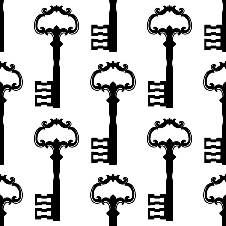 passkey: Stylized black keys seamless pattern with bows adorned by floral ornaments on white background