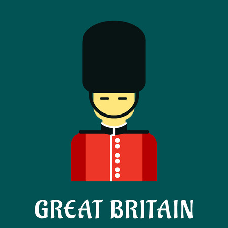 bearskin: Great Britain symbol with Queen guard soldier in uniform of red tunic and bearskin. Flat style Illustration
