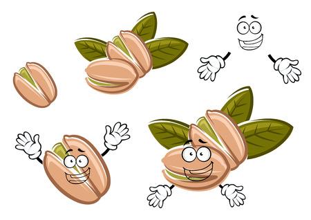 Grappig geroosterde pistache zaden in schelpen stripfiguren met groene noten en verse bladeren. Voor snack, noten of landbouw ontwerp