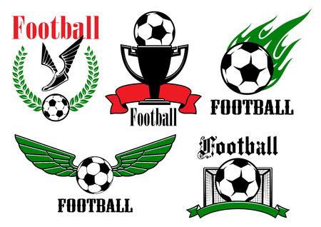 flames background: Football or soccer game emblemsand symbols with winged ball, shoes, gate, trophy cup and flaming ball supplemented by laurel wreath and ribbon banners Illustration