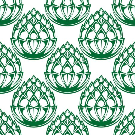 hop plant: Green hop blloms seamless pattern in outline style, for agriculture or brewery background