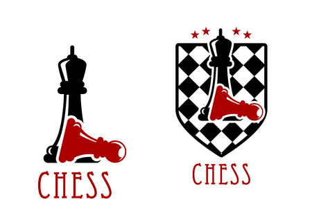 adorned: Chess tournament icon design with black queens over fallen red pawns with chessboard adorned by stars Illustration