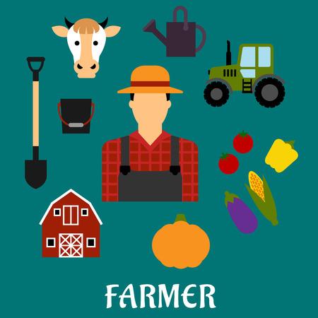 chapeau de paille: Agriculteur conception de la profession avec l'homme en salopette et chapeau de paille entre les tomates fraîches, poivrons, épis de maïs, l'aubergine et le potiron, grange, pelle, seau, vache, boîte et le tracteur arrosage. Design plat