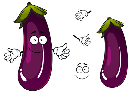 diet cartoon: Shiny violet or purple eggplant vegetable cartoon character with happy smiling face showing thumb up gesture, for agriculture or vegetarian cooking design