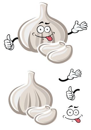 Cartoon bombilla madura de ajo blanco personaje de dibujos animados de verduras con dientes de picantes y cara graciosa burla