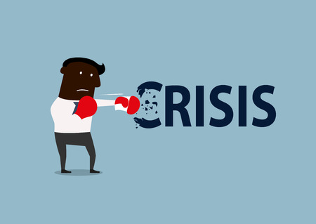 budget crisis: African american businessman breaks the crisis with red boxing gloves. Crisis management concept design, cartoon flat style