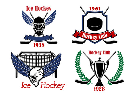 hockey background: Ice hockey championship badges and icons with crossed sticks, puck, trophy and winged goalie masks framed by gate, wreath and heraldic shield with ribbon banners