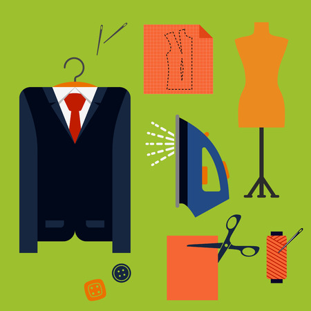 scissor: Tailor tools and accessories flat icons with man costume on a hanger, mannequin, cloth with scissors, iron, thread spool, needles and buttons