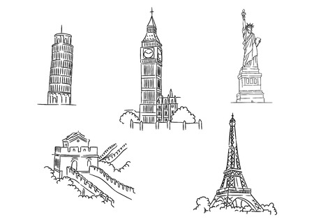 historical romance: Black and white sketch set of famous world landmarks including the Leaning Tower of Pisa, Eiffel Tower, Big Ben, Liberty and Great Wall Illustration