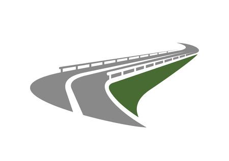 交通: 高速道路道路アイコン緑急の端に渡す金属の交通障壁と斜面に孤立した白い背景。交通機関の設計のため  イラスト・ベクター素材