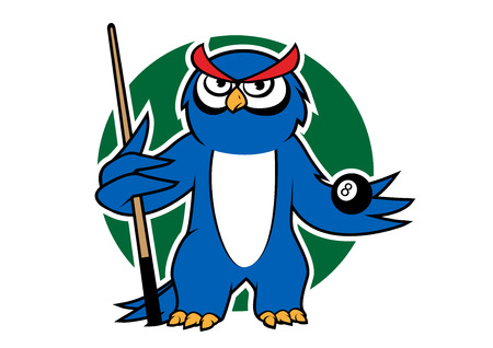 pool player: Cartoon blue owl player with billiard  ball and cue, for sporting mascot design