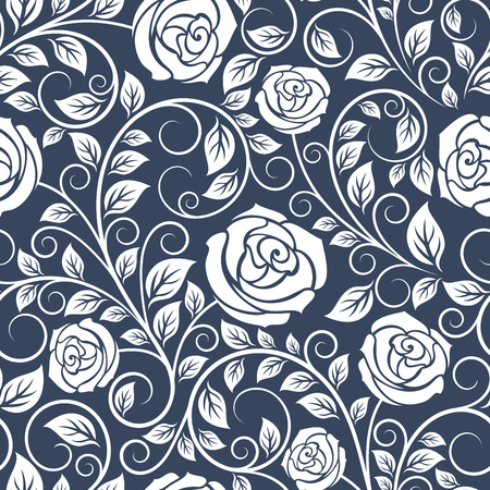 Seamless pattern of white roses on blue background in retro style, for textile or decoration design