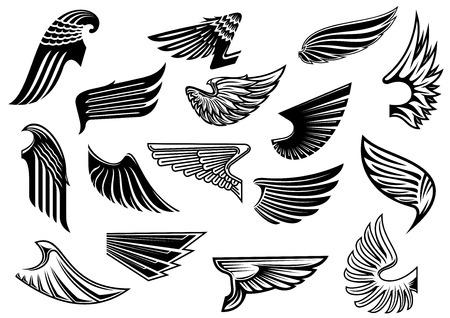 tribales: Vintage alas heráldicas aisladas establecidos con plumaje detallada y abstracto, por tatuaje o la heráldica de diseño