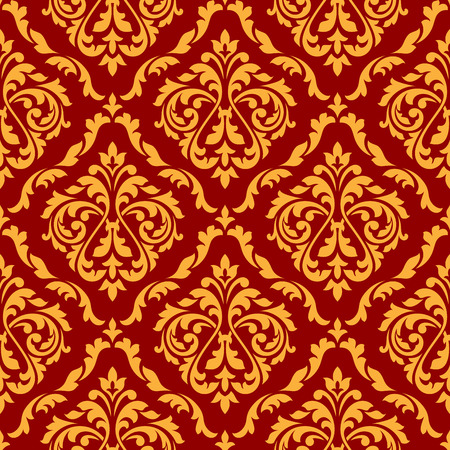dainty: Flourish seamless pattern of orange damask ornament with stylized leaf scrolls and dainty flowers on red background, for interior or textile design Illustration