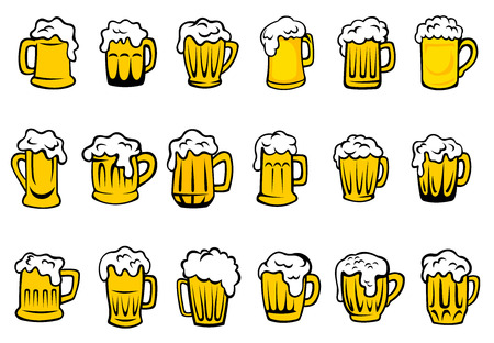 Glass or ceramic mugs and tankards filled of golden light beer with overflowing froth heads isolated on white background, for brewery emblem or beer party design
