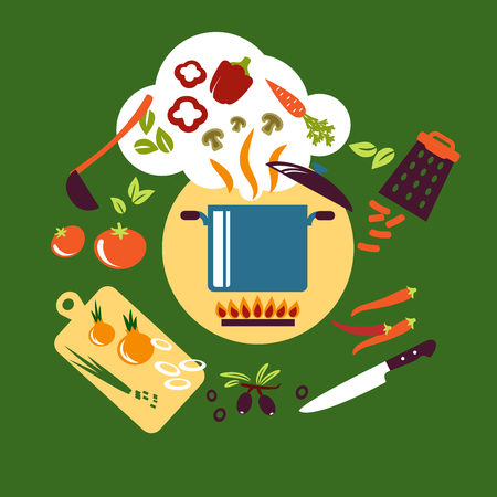 Cooking vegetarian food design with saucepan on fire, knife, ladle, grater and chopping board with carrot, bell and chili peppers, mushrooms, tomatoes, onions, olives and herbs. Flat style Ilustração