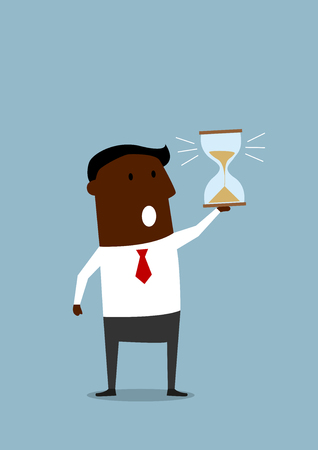 person icon: Black businessman looking at hourglass at the end of countdown and worrying about deadline terms. Cartoon flat style image, for time management or deadline business concept design