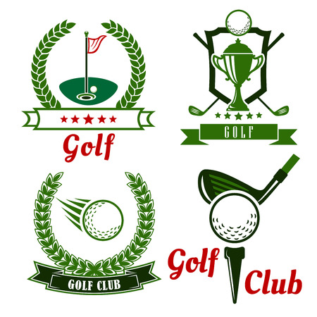 Golf club icons, emblems and symbols with flying ball, clubs, trophy cup and golf balls on field with flagstick and on starting position with tee.  Framed by wreaths, shield, stars and ribbon banners