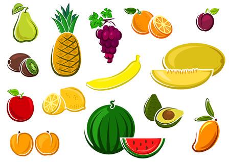banana caricatura: Sand�a, manzana, kiwi, naranja, lim�n, uva, aguacate, mango, mel�n, pl�tano, pi�a, ciruela, pera y melocot�n frutas jugosas frescas. Para la agricultura o el dise�o de la comida sana