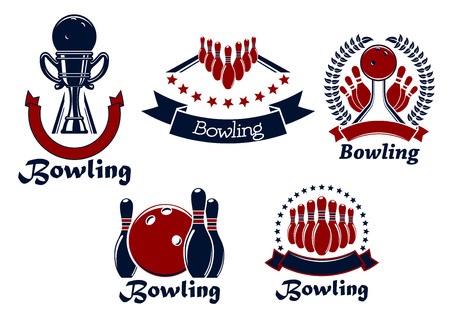 lanes: Bowling game icons with balls, ninepins and trophy cup on lanes adorned by stars, wreath and ribbon banners Illustration