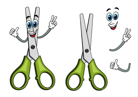scissor cut: Happy scissors cartoon character with plastic green handles showing victory gesture, for education or stationery design