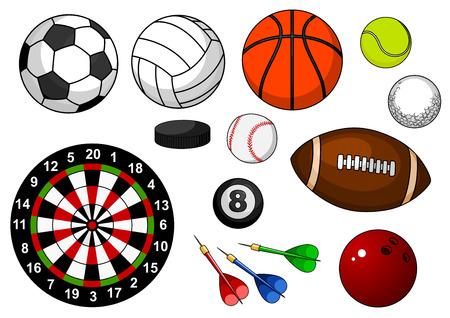 pelota caricatura: artículos de deporte con el fútbol americano, fútbol, ??rugby, baloncesto, voleibol, tenis, golf, béisbol, billar, bolos, disco de hockey y diana aisladas sobre fondo blanco
