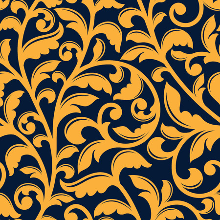 Baroque stylized floral seamless pattern of yellow twisted branches with shaped leaves on dark blue background, for luxury or textile design