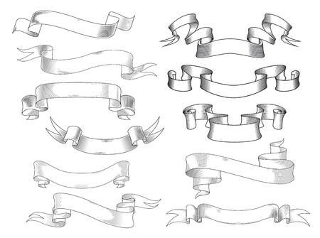 ferraille: Bannières de ruban vintage et défile avec des extrémités en forme de fourche et courbes dans le style de gravure, isolé sur blanc