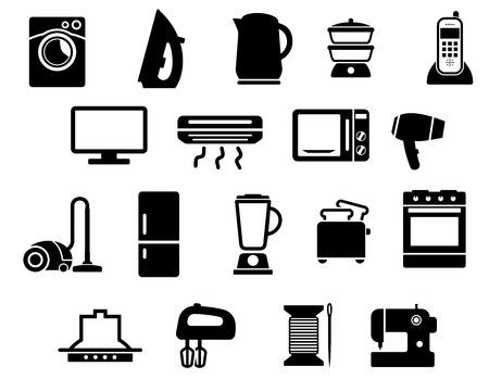 Washing and sewing machines, iron, kettle, steamer, telephone, tv, air conditioner, microwave, hair dryer, vacuum cleaner, fridge, blender, toaster, stove, range hood, mixer, spool and needle flat icons Illustration