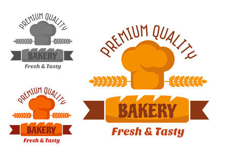 cartoon ear: Bakery emblem with fresh loaf and chef hat or toque decorated by ears in yellow and brown colors