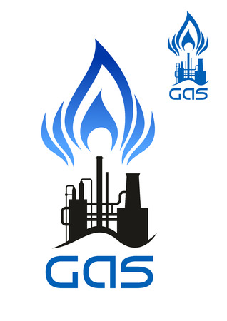 blue flame: Oil and natural gas industrial factory icon with long pipes and blue flame of gas