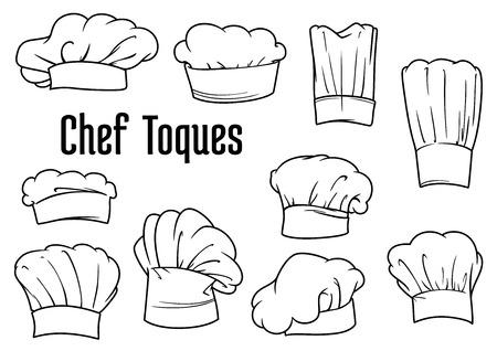 kapelusze: Chef, czapki lub kapelusze toczkami zestaw izolowanych na białym tle, dla pracowników kuchni, menu czy dekoracji. Zarys styl szkic