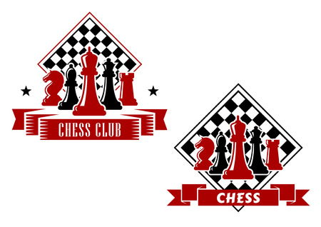 chess king: Chess emblems in black and red colors with king, queen, bishop, knight and rook pieces with turned chess board on the background, decorated with ribbon banners and stars