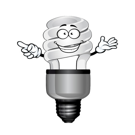 fluorescent tube: Happy compact fluorescent saving light bulb cartoon character with white glass tube, isolated on white background